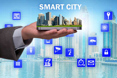 Smart city in innovation concept 免版税图像