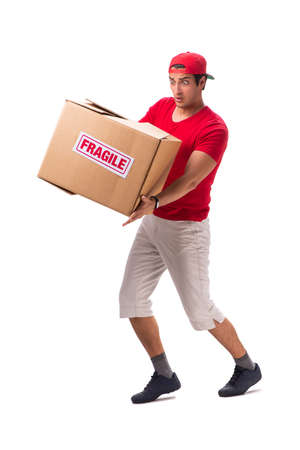 Handsome contractor holding fragile box isolated on white 免版税图像 - 112349358
