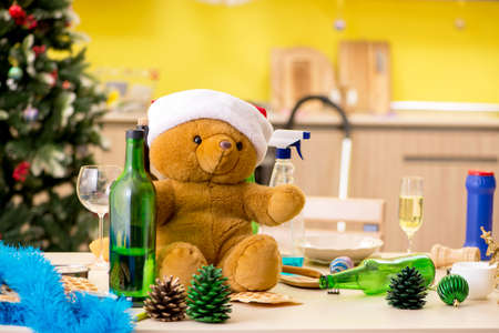 Bear soft toy left on the table after Christmas party