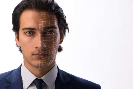 Face recognition concept with businessman portrait