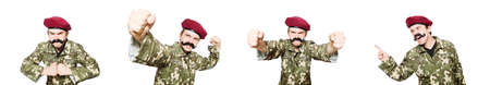 Funny soldier in military concept Imagens