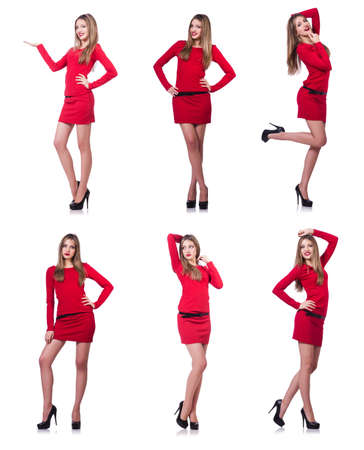Young blonde girl in red short  dress holding isolated on white