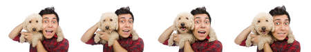 Young man with dog isolated on white Stock Photo