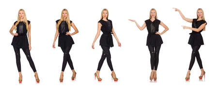 Pretty woman in tight black pants isolated on white
