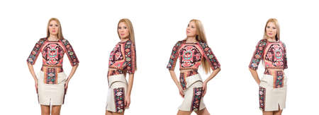 Pretty model in clothes with carpet prints isolated on white Stock Photo