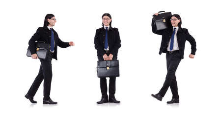 Young businessman holding briefcase isolated on white Stock Photo
