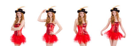5e2358692d5 Red hair girl in carnival costume isolated on white Stock Photo