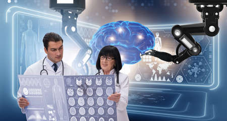 Two doctors in telemedicine concept Stockfoto