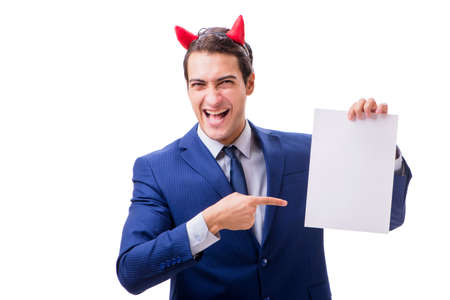 Devil businessman isolated on white background