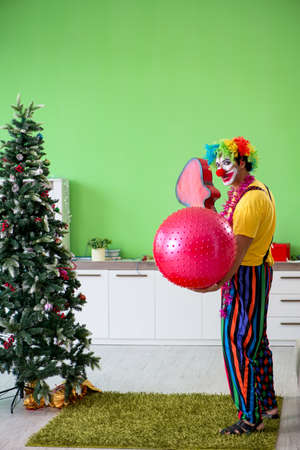 Funny clown in Christmas celebration concept 写真素材