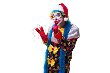 Young funny clown comedian isolated on white Reklamní fotografie