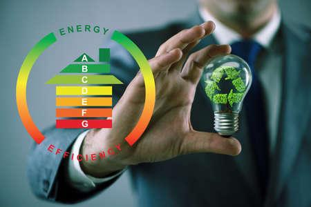 Businessman in energy efficiency concept