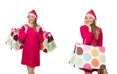 Young woman in christmas shopping concept 版權商用圖片