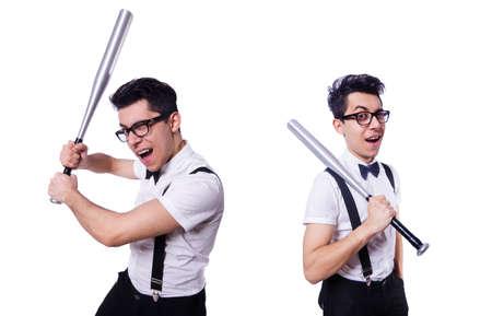 Funny man with baseball bat