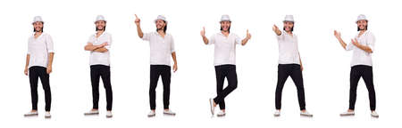 Young man in hat isolated on white Standard-Bild