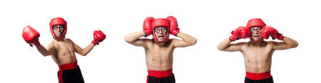 Funny boxer isolated on the white Imagens