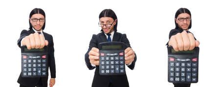Man with calculator isolated on white Imagens
