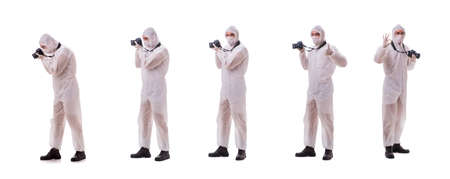 Forensic specialist in protective suit taking photos on white Banque d'images - 112934074