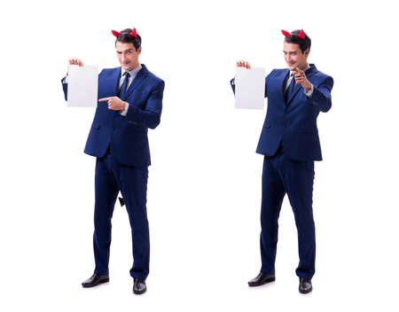 Young devil businessman isolated on white 写真素材