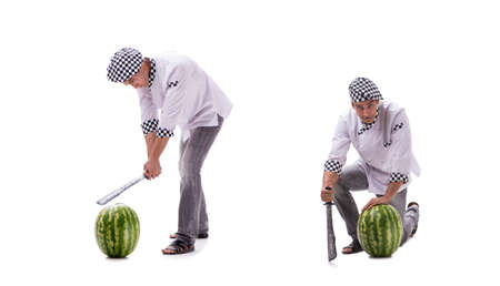 Young male cook with watermelon isolated on white