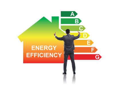 Uomo d'affari nel concetto di efficienza energetica