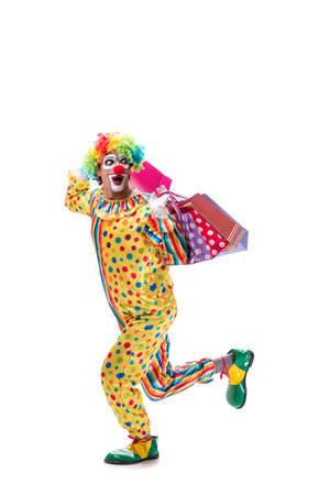Funny clown isolated on white background Stock Photo