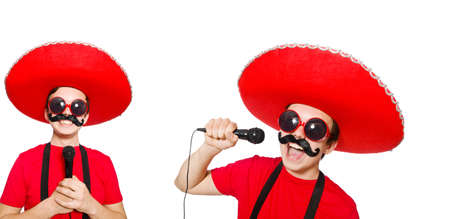 Funny mexican with mic isolated on the white Stock Photo