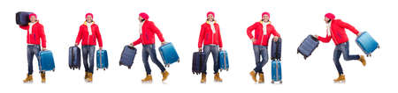 Man preparing for winter vacation Banque d'images