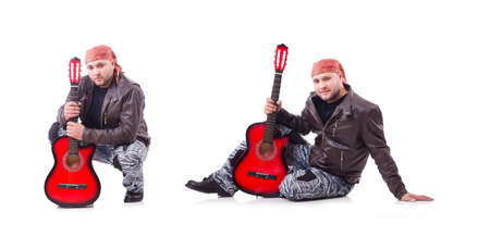 Guitar player isolated on white Stock fotó