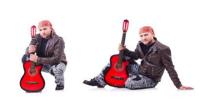 Guitar player isolated on white Standard-Bild