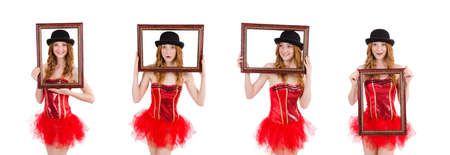 Pretty fairy with picture frame isolated on white Banque d'images