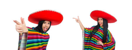 Mexican woman in funny concept on white Stock Photo