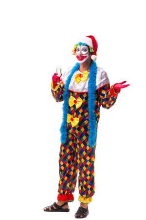 Young funny clown comedian isolated on white Imagens