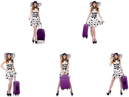 Beautiful woman in polka dot dress with suitcase isolated on whi