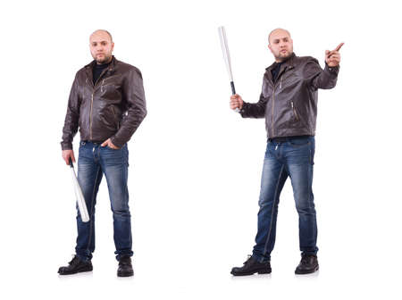 Violent man with baseball bat on white Standard-Bild