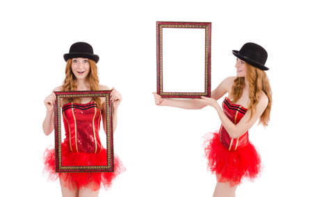 Pretty fairy with picture frame isolated on white Stock Photo