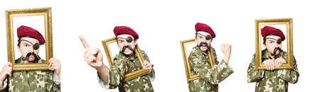 Funny soldier in military concept Standard-Bild