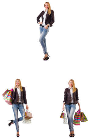 Beautiful woman with shopping bags isolated on white Stock Photo