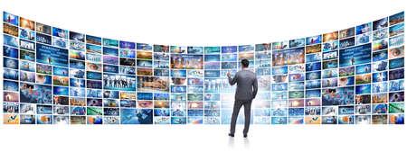 Collage de photos avec un homme d'affaires Banque d'images