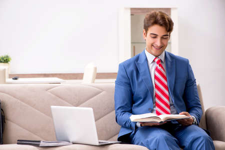 Young businessman working at home sitting on the sofa