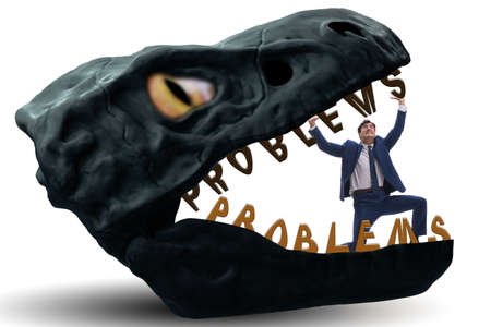 Businessman in the jaws of problems