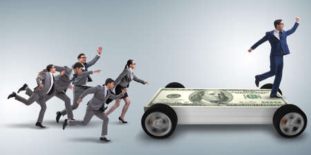 Businessman in the business concept with dollar car