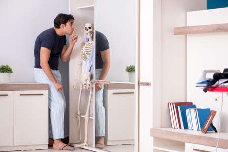 Concept of Skeleton in the cupboard or closet