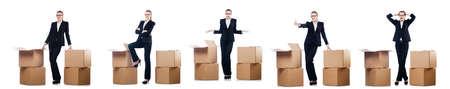 Businesswoman with boxes isolated on white Zdjęcie Seryjne