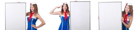 Young woman with blank board on white Banque d'images - 114830973