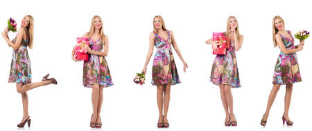 Beautiful woman with giftboxes and flowers 免版税图像