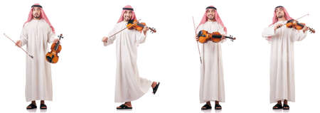 Arab man playing violin isolated on white Stok Fotoğraf