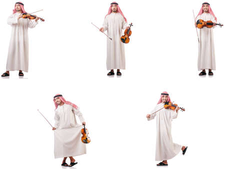 Arab man playing violin isolated on white 免版税图像