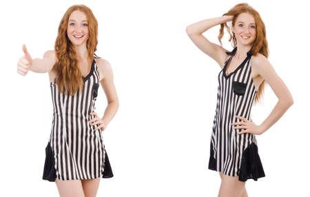 Beautiful woman in striped dress