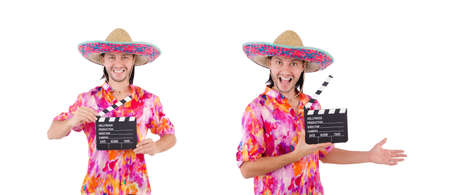 Funny mexican with sombrero hat Stock Photo